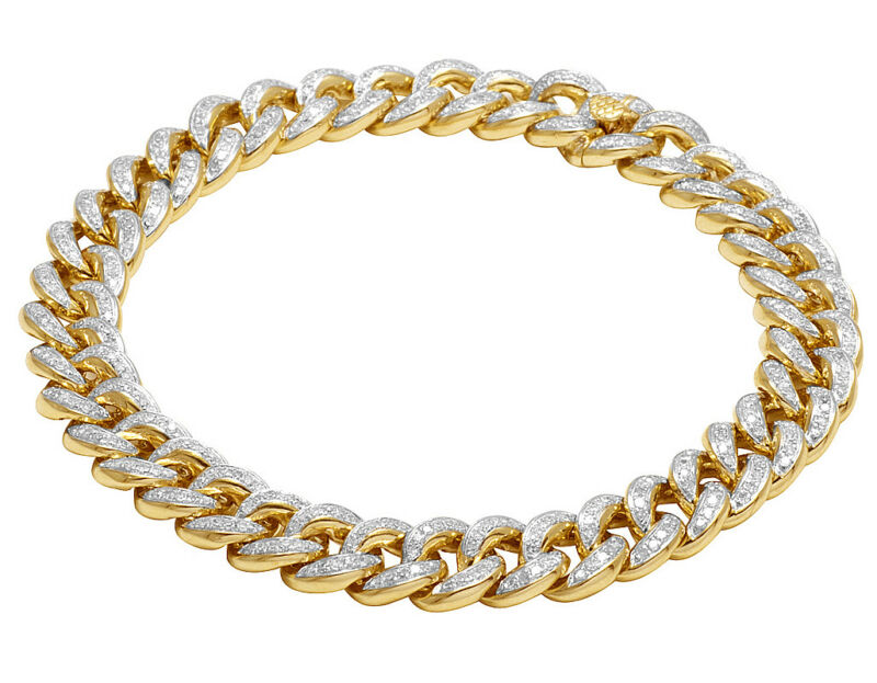 Mens 14k Yellow Gold Genuine Diamond 10mm Miami Cuban Link Bracelet 3 Ct 8.5""