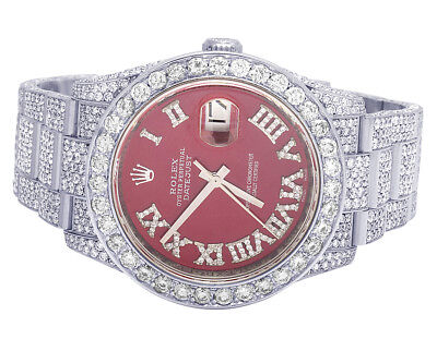 c61ec249397db6 Rolex Datejust S.Steel 36MM 116200 Red Dial Iced Out VS Diamond Watch 26.55  Ct