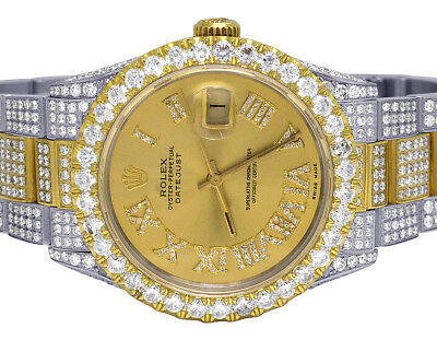 Rolex 18K/ Steel Two Tone Datejust 36MM 16013 Oyster Diamond Watch 13.5 Ct