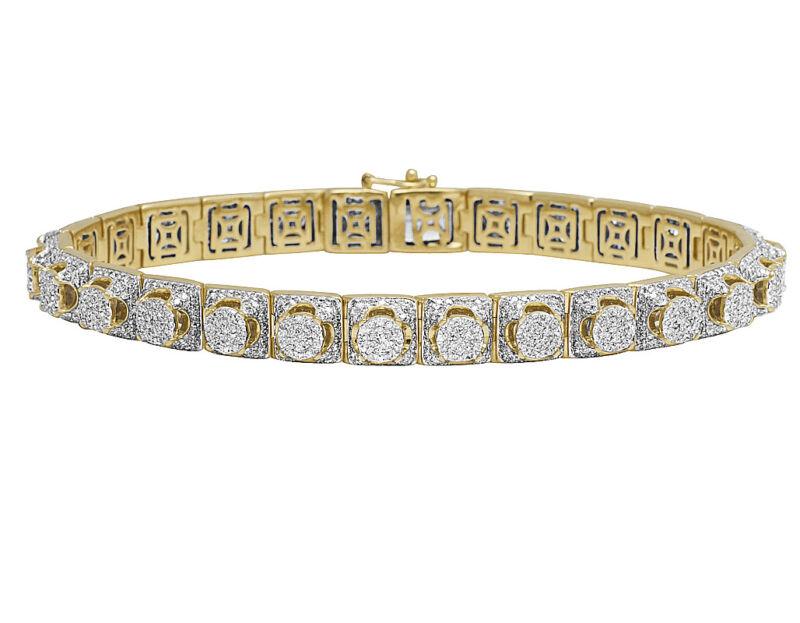 "Real 10k Yellow Gold Genuine Diamond 8mm Cluster Designer Bracelet 6 3/5 Ct 8.5"""
