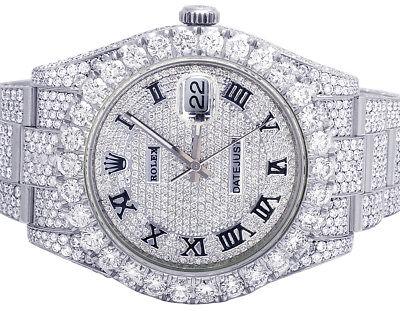 Mens Rolex Datejust II 41MM 116300 Full Iced Full VS Diamond Watch 31.55 Ct