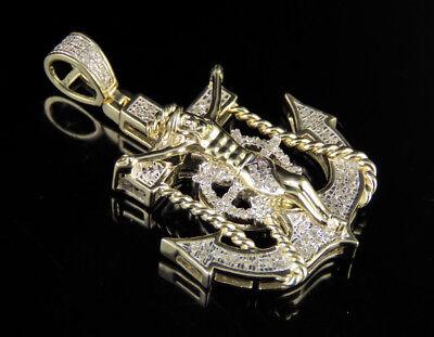 10K Yellow Gold Real Diamond Crucifix Jesus Anchor Pendant Charm 1/3 CT 1.5