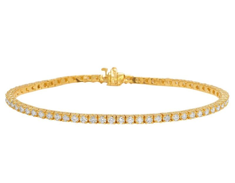 Real 14K Yellow Gold 3MM Tennis Genuine Solitaire Diamond Bracelet 5 1/2 CT 8""