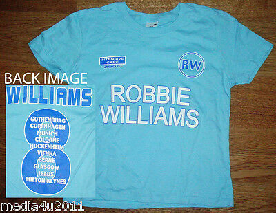 ROBBIE WILLIAMS INTENSIVE CARE 2006 CONCERT TOUR SKINNY T SHIRT XS BLUE NEW