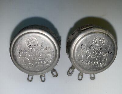 2 Vintage Allen-bradley Type J Potentiometer .25 Meg