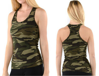 Green Sleeveless Tank Top (Women's CAMO Tank Top Racerback Sleeveless Stretch Fitted Army Green)