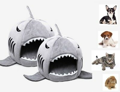 Pet Bed Warm Cave House Soft Plush Suit for Dog Cat Kitten Puppy Shark Cute Home