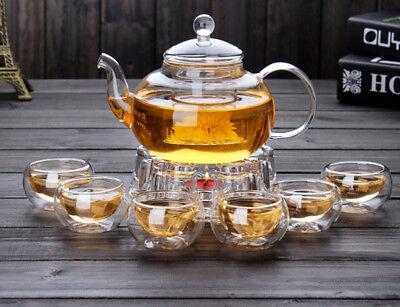 - High Borosilicate glass Tea Pot Set Infuser Coffee Tea Leaf Herbal 6 Cups Warmer