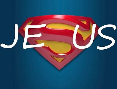 JESUS SUPERMAN T SHIRT IRON ON TRANSFER DARK OR ANY COLOR MATERIAL