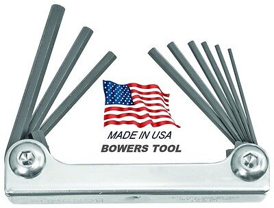 Bondhus Classic Steel Hex Fold Up Wrench Set SAE Standard .05-3/16 in USA Metal Bondhus Steel Hex Wrench