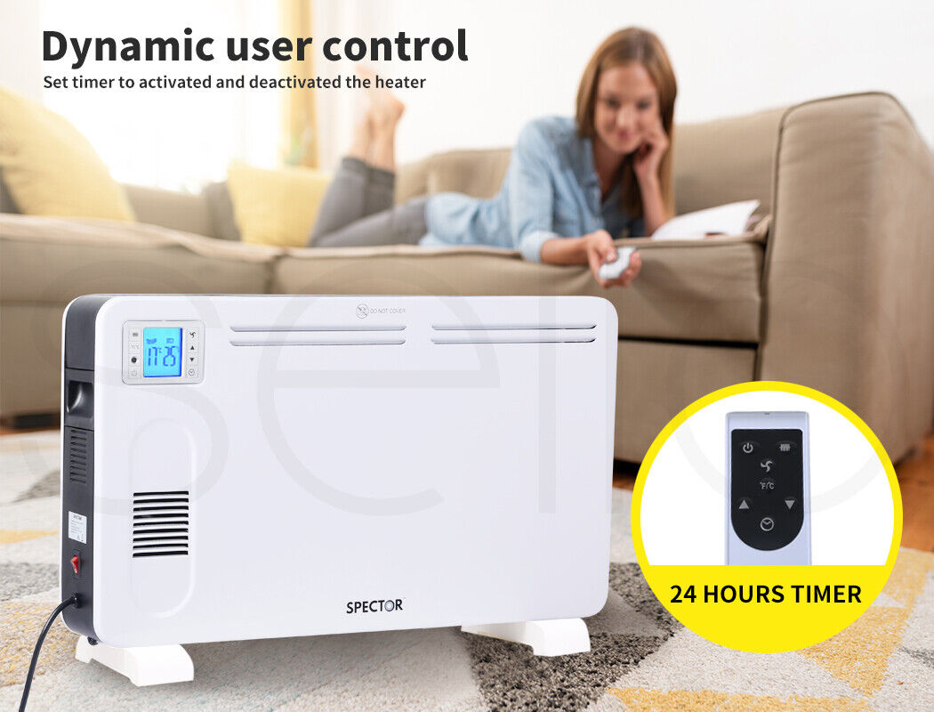 Spector Electric Panel Heater Portable Convection Remote Control 2300W 8