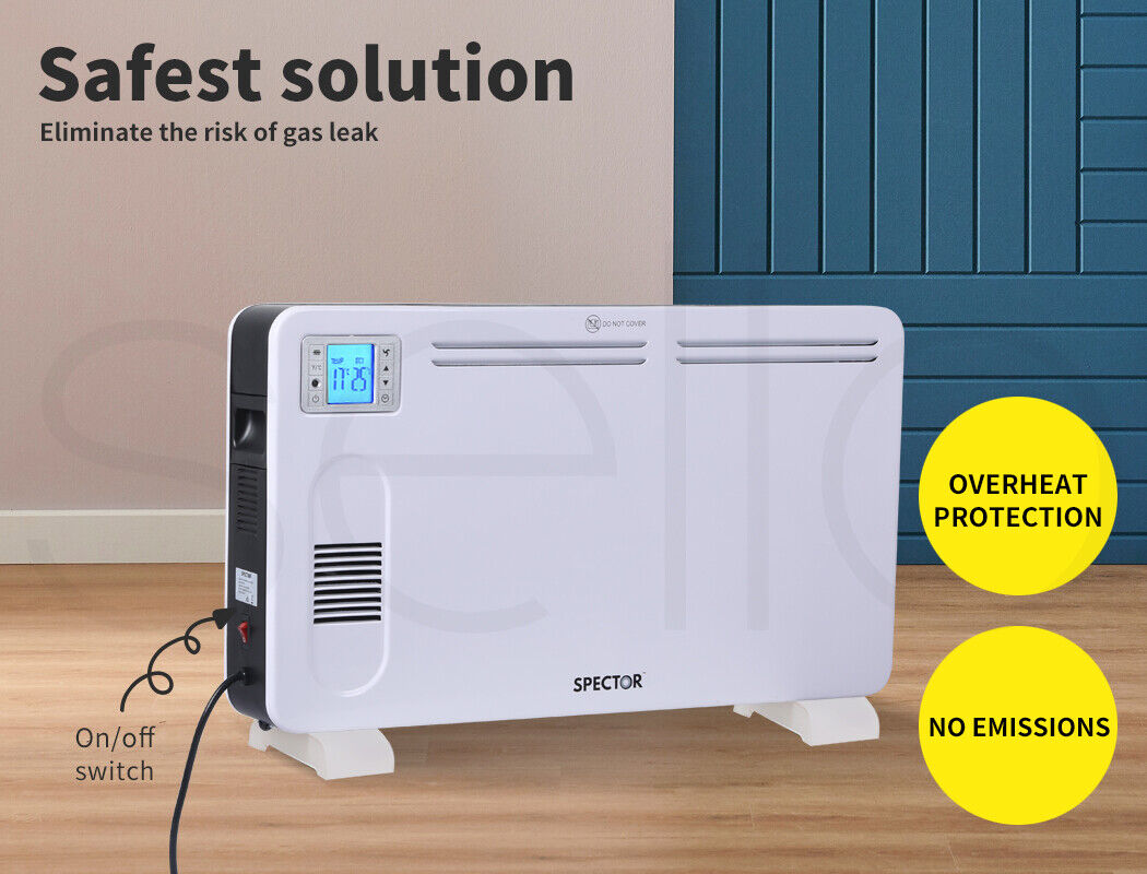 Spector Electric Panel Heater Portable Convection Remote Control 2300W 5