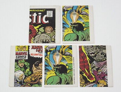 Lot of 5 1975 Topps Marvel Comic Book Heroes Stickers Checklist Trading Cards