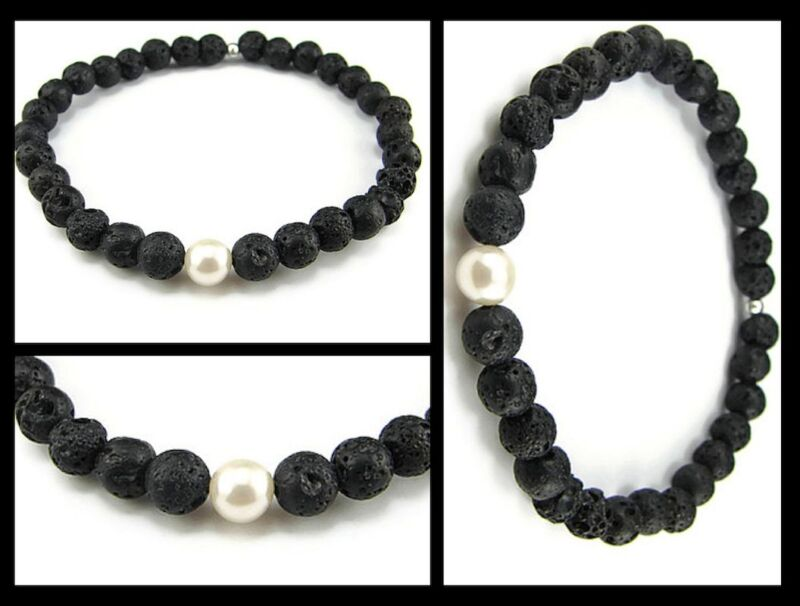 Good Life Karma Strength Purity Black Lava Rock w Pearl Bracelet Men Woman