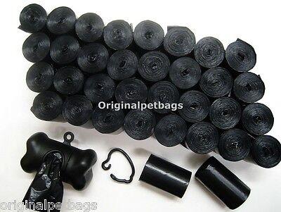1100 DOG PET WASTE POOP BAGS BLACK CORELESS WITH FREE BLACK