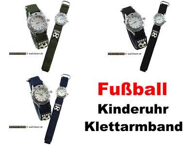 Armbanduhren Kinder Jungen Fußball Klettarmband Sportuhr Lernuhr schwarz blau