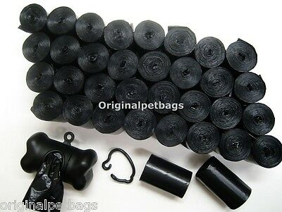 720 REFILL DOG PET WASTE POOP BAGS BLACK CORELESS / FREE DISPENSER Doggy Waste Bags