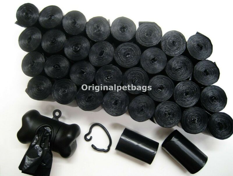 720 REFILL DOG PET WASTE POOP BAGS BLACK CORELESS / FREE DISPENSER