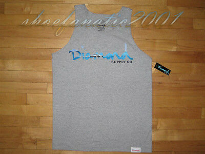 Diamond Supply Co Yacth OG Script Tank Top Grey Large & Medium Curren$y Supreme