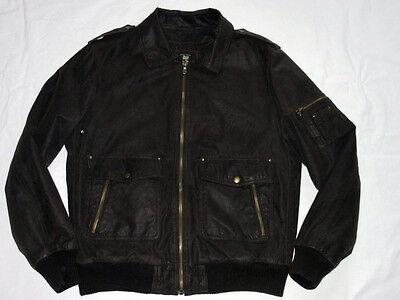 Best Company Leather Jacket Brown Subtle Biker Pilot's Ultras Zx Size: XXL