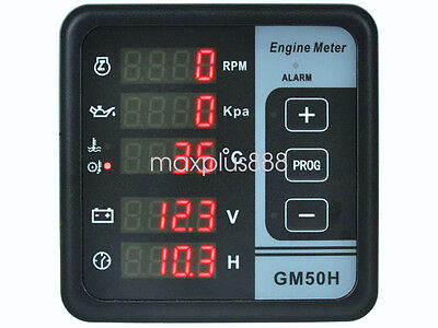 Power Generator Rpm Oil Press Oil Water Temp Votalge Time Digital Panel Meter