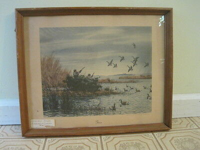 Framed 1946 Print Gunning In America   Geese   A  Aiden  Lassell Ripley With Bio