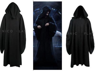 Star Wars Emperor Palpatine Darth Sidious Robe Cosplay Costume Black{DD2Y}