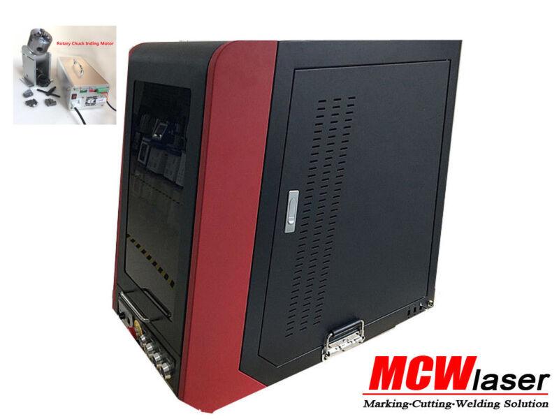 20W Raycus Max Fiber Laser Marking Machine Enclosed Engraver Metal & Rotary DHL