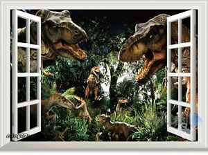 Jurassic World Dinosaur Park 3D Window Wall Decals Removable Stickers Kids Decor