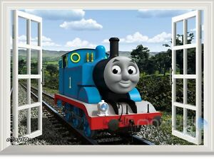 thomas train 3d window wall decals removable stickers kids. Black Bedroom Furniture Sets. Home Design Ideas