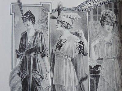 LA FEMME CHIC a PARIS FEBRUAR 1914 ALTE MODE HUT KLEIDUNG FRISUREN ZEITSCHRIFT