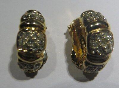 Boucles d'oreilles Anciennes en plaqué or avec nombreux Zirconium