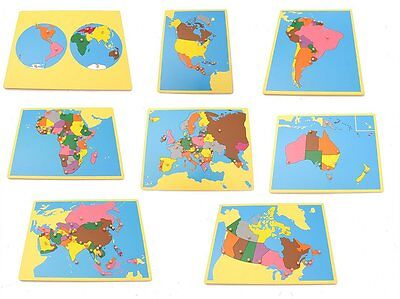 NEW Montessori Geography Material- Board Map Package 2 (Set of 8) with Canada