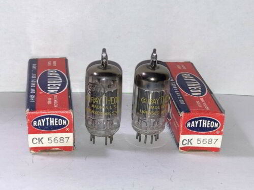 1957 Raytheon 5687 Tubes, Matched Pair, Tested, NOS/NIB, Matched Codes