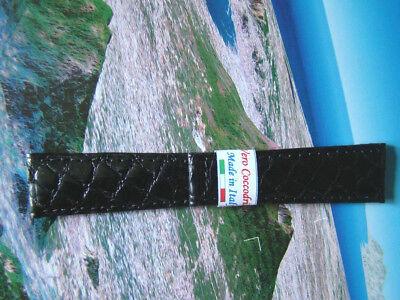 Cinturino in COCCODRILLO, ansa 20 mm, NERO, per rolex DAYTONA ,watch band strap  usato  Casal Thaulero
