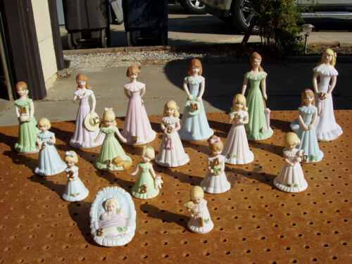 ENESCO GROWING UP PORCELAIN BRUNETTE GIRLS BIRTHDAY FIGURINES SET of 17 EXC COND