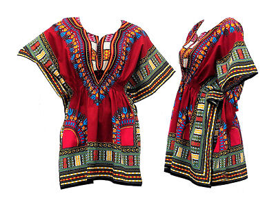 African Dashiki for Women Mini Dashiki Embroidered Dress Summer African Print
