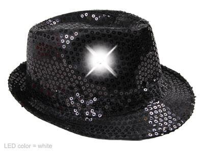 LED Pailletten Glitzer Trilby Hut schwarz, inkl. Batterien, Silvester Karneval