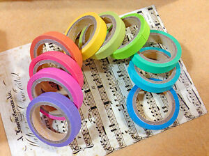 10x Rolls/Set Decorative Tape Sticky Paper Rainbow Washi Masking Tape Stationery