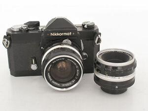 Rare Black Nikkormat FT with two Nikkor lenses, S-Auto 2.8-35mm-S Auto 2.0-50mm