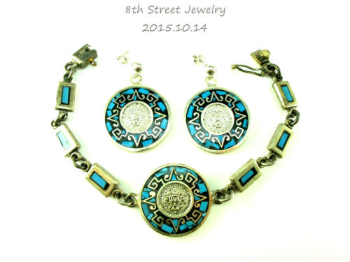 Estate Mayan Style Turquoise Sterling Silver 925 Bracelet & Earrings SET Mexico