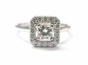 Dettagli su Hearts On Fire Princess Cut Diamond Engagement Ring .77CT ...