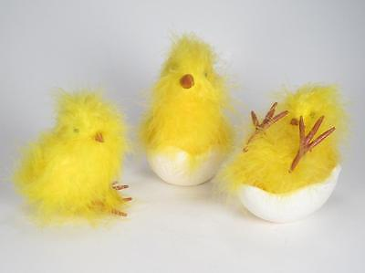 Set 3 Yellow Fuzzy Easter Chicks with Chick in an Egg Shell - Yellow Chicks