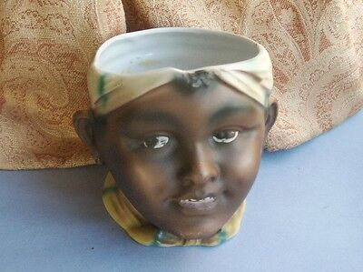 Old Vintage Antique German Porcelain Black Girl Head Pot Vase Edwardian c.1910