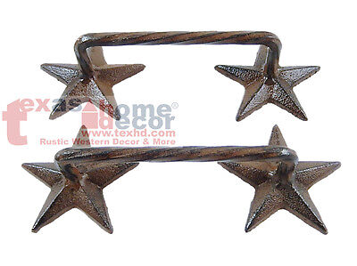 (2 Rustic Western Cast Iron STAR Door Handles Drawer Pull Cabinet Hardware SCREWS)