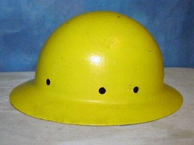 Vintage Fibre Metal Superglas Yellow Pith Hard Hat Hardhat Miner Safety J235