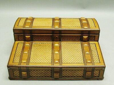 Museum Quality 19th C. ENGLISH INLAID Wicker & Rare Wood Lap Desk  c. 1880 box