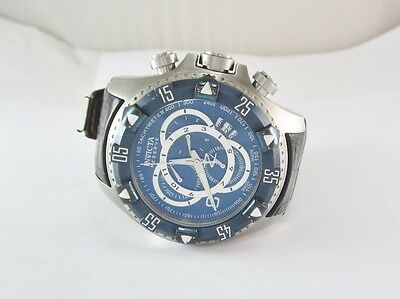 MEN'S INVICTA RESERVE EXCURSION BLUE DIAL SS DIVE WATCH # 11021 W/ LEATHER BAND