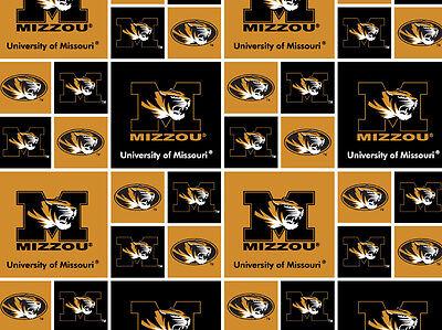 Cotton University of Missouri Tigers College Team Cotton Fabric Print D663.10 ()