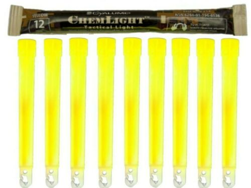 "12 Hour 6"" Military ChemLight (10cm) Yellow lightstick Cyalume Branded lot of 10"